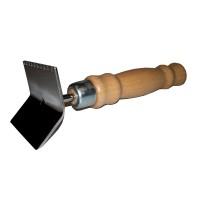 Škrabka na čištění kovových mřížek - dřevěná rukojet