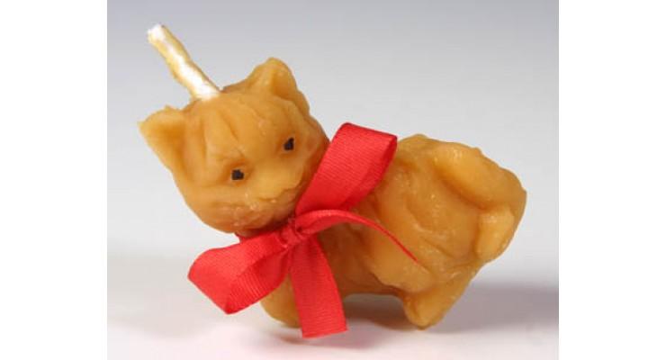 Svíčka ze včelího vosku - kočka