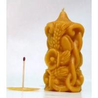 Svíčka ze včelího vosku - zdobená klasem