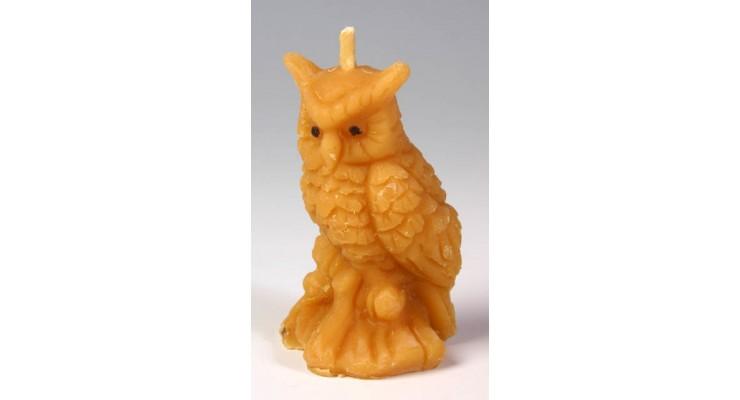 Svíčka ze včelího vosku - sova malá