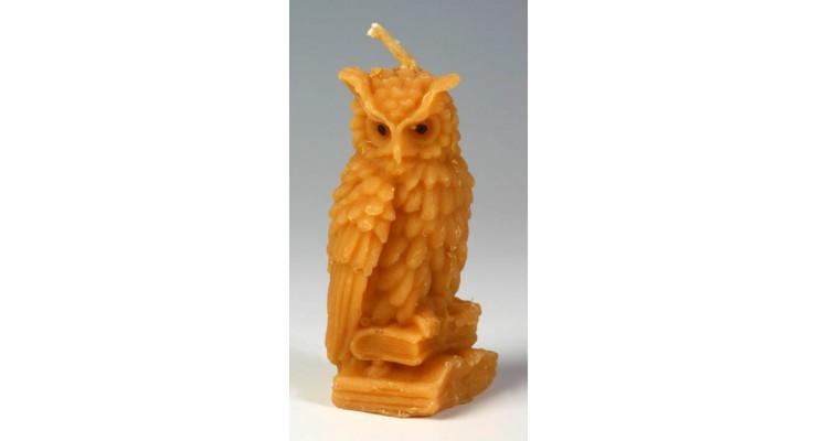 Svíčka ze včelího vosku - sova velká