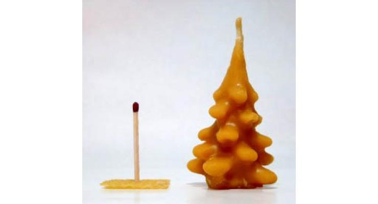 Svíčka ze včelího vosku - stromeček střední